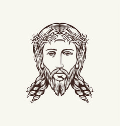 the face of the lord and savior jesus christ vector image vector image