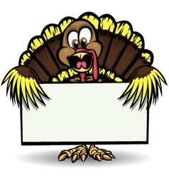 turkey holding sign vector image vector image