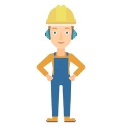 Woman wearing hard hat and headphones vector