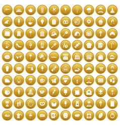 100 patisserie icons set gold vector