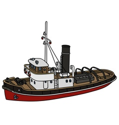 Old harbour tugboat vector