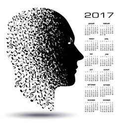 2017 calendar with a man made of musical notes vector