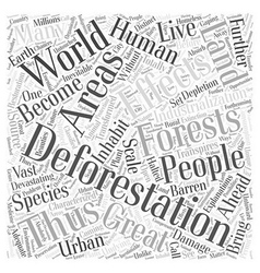 Devastating effects of deforestation word cloud vector