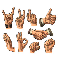 Male and female hand sign fist likepointing vector