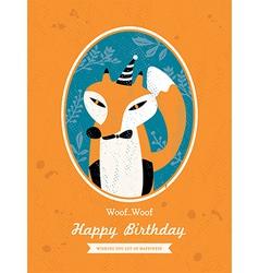 Fox animal cartoon birthday card design vector