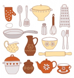 Tableware and kitchen tools vector
