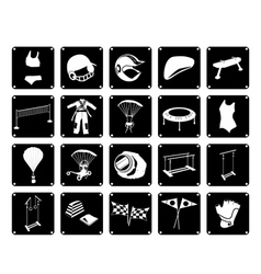 Set of sport accessory icons on white background vector