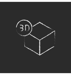 Three d box drawn in chalk vector