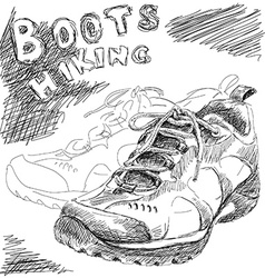 Hiking boots doodle vector