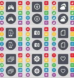 Gamepad compass cloud sms camera file gallery gear vector
