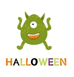 Halloween card with cute monster vector