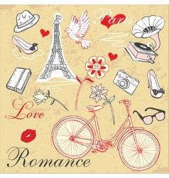 Paris romance set vector