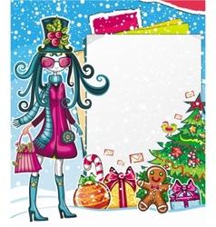 christmas fashion girl vector image
