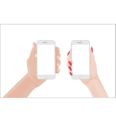 Man and woman handsholding white smartphone vector