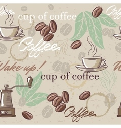 Seamless hand drawn vintage coffee pattern vector image