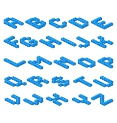 Isometric 3D font of plastic blue cubes vector image