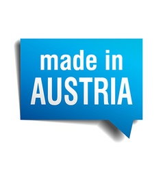 Made in austria blue 3d realistic speech bubble vector