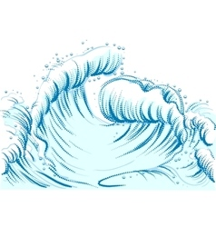 Blue wave with foam cap high sea wave vector