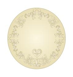 Button circular festive with a heart filigree vector