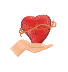 Drawing hand holding sac heart vector