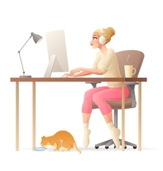 Freelance woman working home office with vector