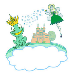 Frog prince cartoon character and beautiful fairy vector