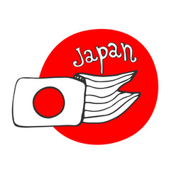 Hand drawn sketch of flag japan - red circle vector