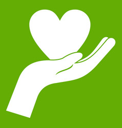 hand holding heart icon green vector image