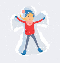 Happy woman making snow angel flat vector