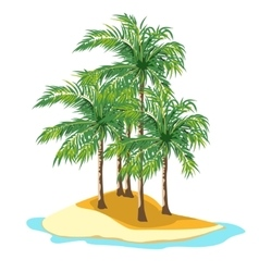 Island and palm trees on a white background vector