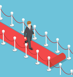 Isometric businessman walking on red carpet vector