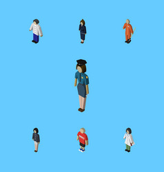 Isometric people set of girl guy businesswoman vector