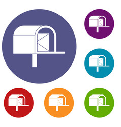 Mailbox icons set vector