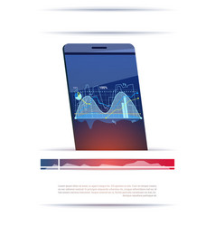 modern smart phone with graphs and charts template vector image