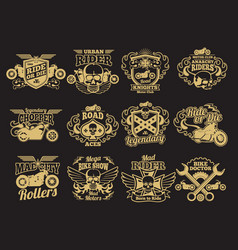 Motorbike club vintage patches on black vector