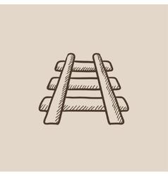 Railway track sketch icon vector image