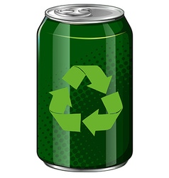 Recycle symbol on green can vector