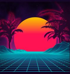 retro background futuristic landscape 1980s style vector image vector image