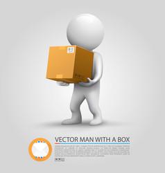 Sending a parcel man holding a parcel vector