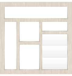Set of white banners on light wooden surface vector