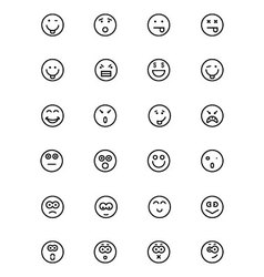 Smiley line icons 2 vector