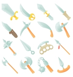 Steel arms items icons set cartoon style vector