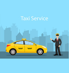 Taxi driver yellow taxi vector