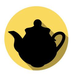 Tea maker kitchen sign flat black icon vector