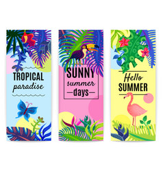 Tropical paradise vertical banners collection vector