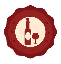 Wine cup and bottle isolated icon vector