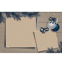 Wooden board with christmas decorations vector