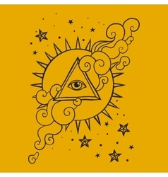 Eye in pyramid with sun and stars vector image
