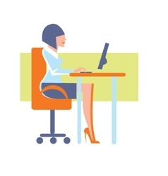 Young businesswoman using desktop computer vector