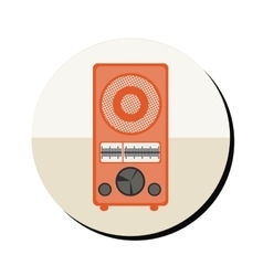 Radio antique with controls in round frame vector